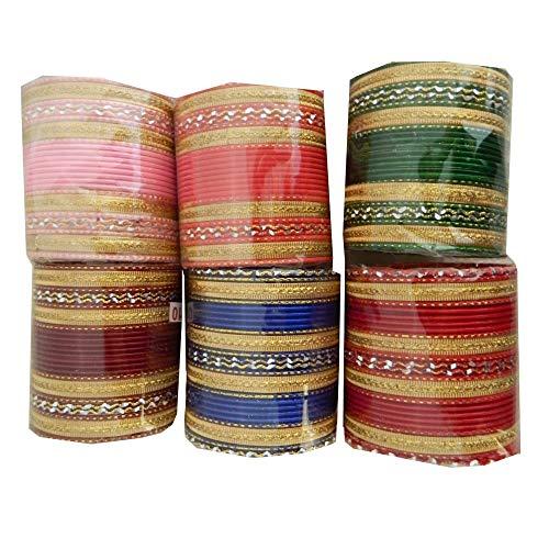 indischerbasar.de Bollywood Armreifen 144 Bangles 24er Sets goldfarbig bunt Verschiedene Größen Farben