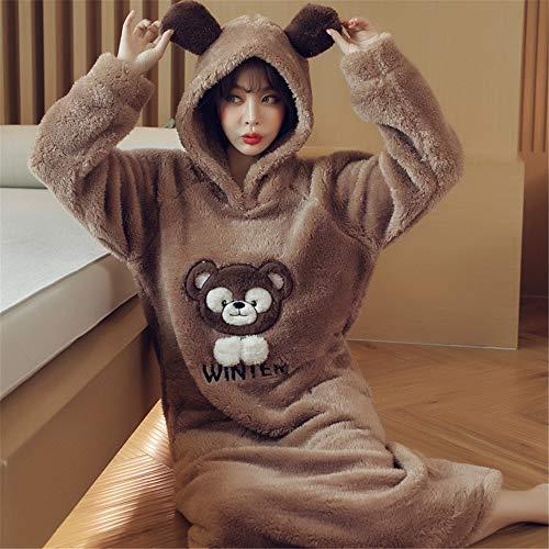Damen Kapuze weiches Nachthemd Korallenvlies Verdickung Bademantel Herbst und Winter warme süße Pyjamas Home Service,A4 XL