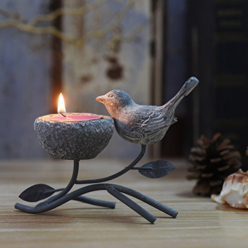 Marbrasse Metallic Votive Candle Holders, Decorative TeaLight Candle Stands for Table, Vintage Home Decor Centerpiece Features Bird, Nest and Tree (Grey Black)