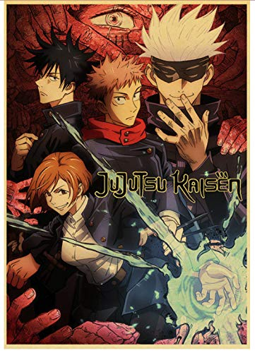 Canvas Poster Anime Poster Jujutsu Kaisen Retro Poster For Living Room Bar Interior Decoration Stickers Wall Painting…