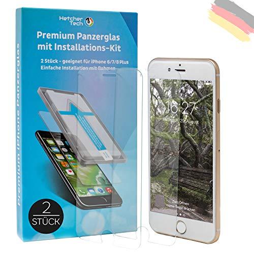 Hetcher Tech [2 Stück] Panzerglas Schutzfolie 9H kompatibel für iPhone 6/6s/7/8 Plus (alle 5,5