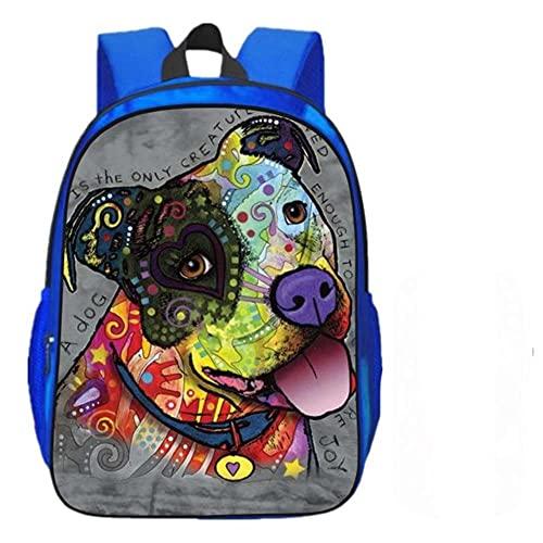 PLMNXHH Juego de 2 mochilas escolares para niños con impresión 3D de animales y perros Blue6 Talla única