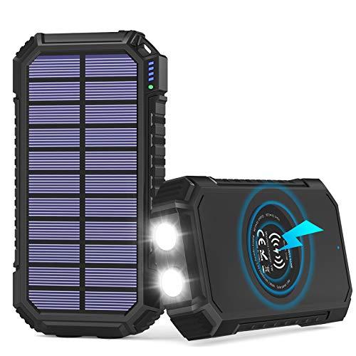 Solar Powerbank 26800mAh, Hiluckey Wireless Solar Ladegerät mit 4 Ausgängen USB C 3A Solar Power Bank Externer Akku für iPhone, Samsung, Huawei, iPad und mehr