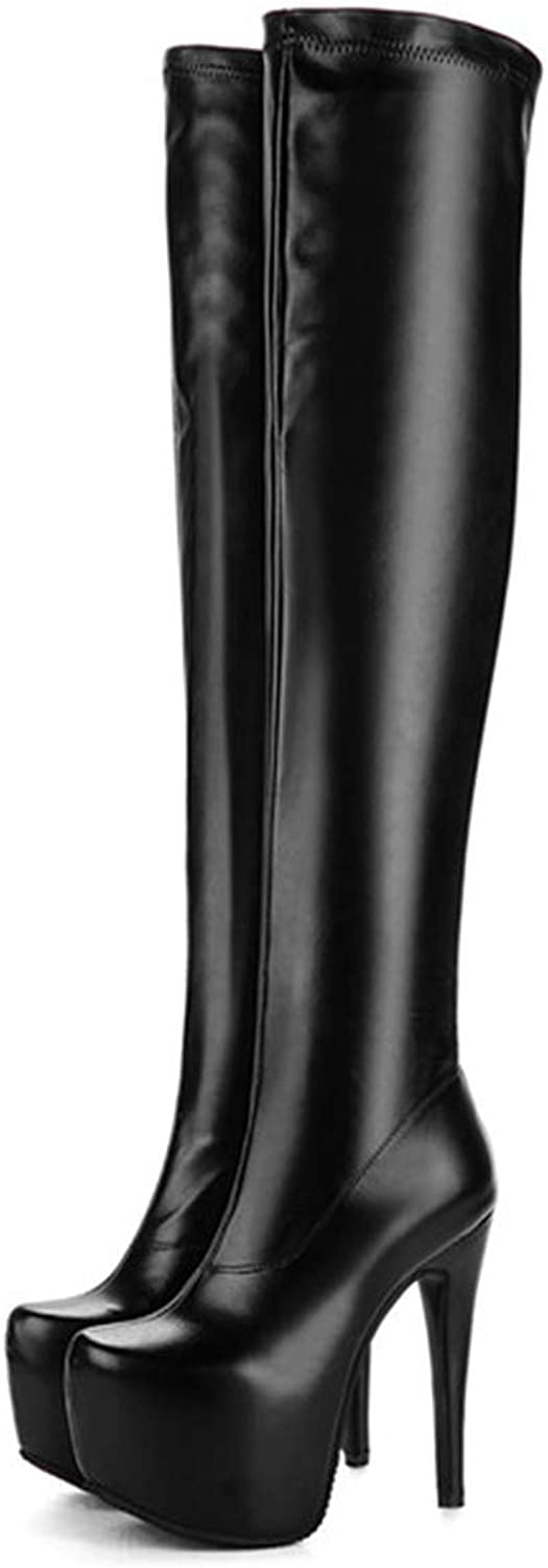 Plus Size Extreme High Heel Boots Women Sexy Fetish Over The Knee Boots Platform PU Leather