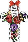 Joan Baker Designs Jewel Bouquet Peace of God Cross Stained Glass Suncatcher (SX2017R)