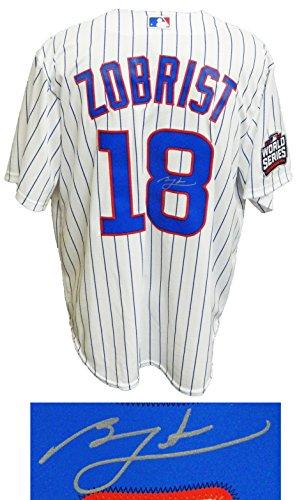 Ben Zobrist Signed Cubs White Pinstripe 2016 World Series Patch Majestic Jersey - Schwartz COA