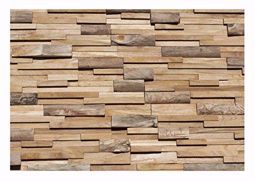 HO-010-1 Modul Paneele auf Netz Teakholz 3D Holz-Verblender Wandverkleidung - Fliesen Lager Verkauf Stein-Mosaik Herne NRW