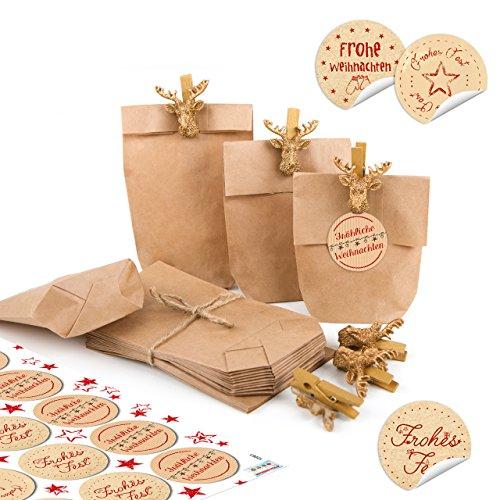 24 kleine braune Mini Papiertüten Verpackung 15 x 9 x 3,5 cm + HIRSCH Klammern GOLD + 24 Frohe Weihnachten Aufkleber beige rot Geschenke weihnachtlich give-away Kunden