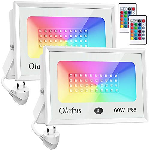 Olafus 2x 60W Focos LED RGB de Colores Dimmables,Focos Led Exterior, Control Remoto, 16 Colores y 4 Modos IP66 Impermeable, para Decoración Fiesta, Árbol, Jardín, Bar, Pared