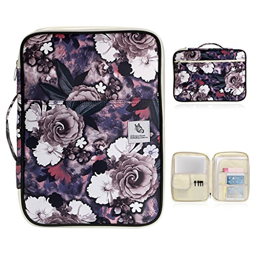BTSKY New Multi-Functional A4 Document Bags Portfolio Organizer-Waterproof Travel Pouch Zippered Case for Ipads, Notebooks, Pens, Documents (White Flower)