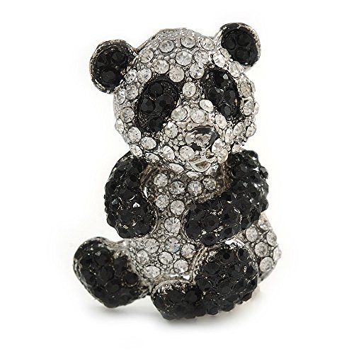 Avalaya Black/Clear Crystal Panda Bear Brooch in Silver Tone Metal - 40mm Tall
