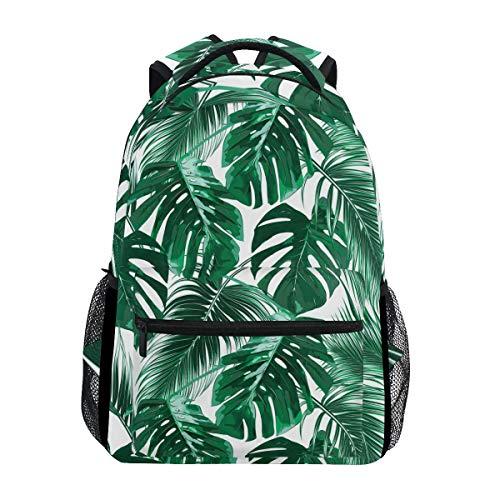 Wamika Tropical Palm Leaves Jungle Aquarelle Sac à Dos étanche pour l'école, la Gym, l'été Hawaïen Paysage de forêt pour Ordinateur Portable, Sac de Voyage pour Enfants, garçons, Filles, Hommes