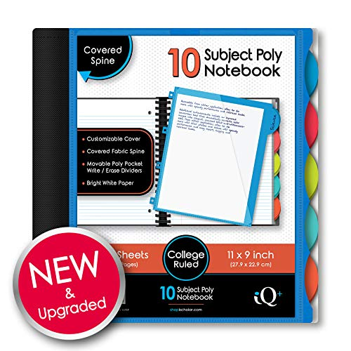 IQ iScholar Poly Cover 10 Subject Notebook, College Ruled, 11 x 8.5