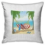 Funda de almohada cuadrada de playa Protector Hamaca entre palmeras en la playa Ilustración de estilo de dibujos animados Composición digital Fundas de cojín multicolor Fundas de almohada para sofá Do