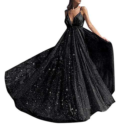Lulupi Vestiti Donna Estivi Eleganti Lunghi Paillettes A Pieghe Cami Straps Vestito Scollo A V Profondo Scintillante Abito da Cerimonia Sera