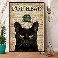 2個 猫サボテンポットヘッドかわいい金属看板ガレージストリートカフェバークラブキッチン壁の装飾カントリーファームバスルームレトロ楽しい金属錫看板 12x8 インチ最高のギフト