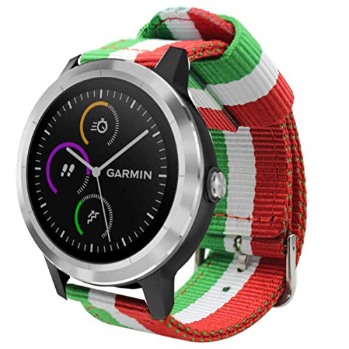 Estuyoya - Pulsera de Nailon Compatible con Garmin Vivoactive 3/Galaxy Watch Active 2/Forerunner 245/645 Music/Suunto 3/Polar Ignite Colores de Italia Transpirable Elegante 20mm