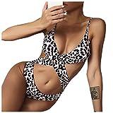 YANFANG Bañador de Las Mujeres Sexy Estampado de Leopardo Bikini Playa Cruzada sin Espalda Traje de baño de una Pieza Traje de baño