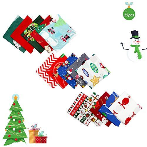Happylohas Stoffpakete Weihnachten,Stoffpakete Patchwork Stoffe Baumwolle,Baumwollstoff Meterware(25X25cm) (15 Stück)