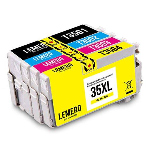 4 LEMERO 35XL 35 XL T3591 T3592 T3593 T3594 T3591-T3594 XL Druckerpatronen Kompatibel für EPSON Workforce Pro WF-4720DWF WF-4725DWF WF-4730DTWF WF-4740DTWF Drucker,Schwarz Cyan Magenta Gelb