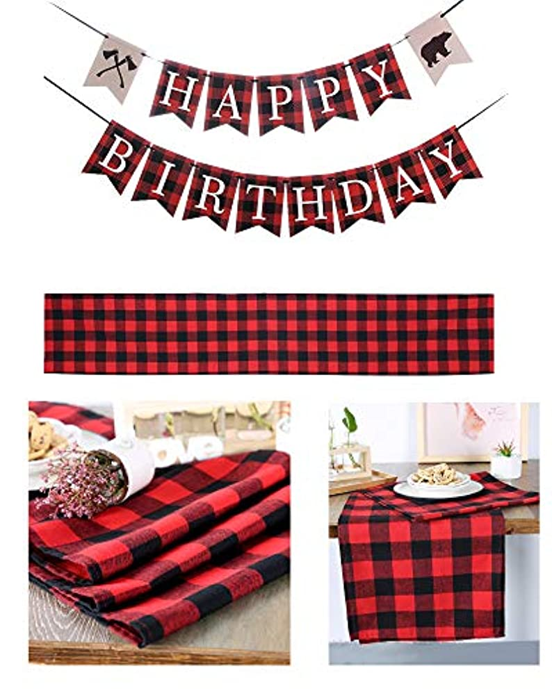 MEIBEL Lumberjack Birthday Party Banner and Cotton Buffalo Check Table Runner 14