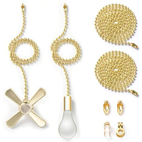 Pull Chain with 35.4 inches Extension, Kinghouse 2 pcs 13.6 inches Copper Beaded Ball Fan Pull Chain Set including Beaded and Pull Loop Connectors, ELegant Holiday Gift Set (Golden)