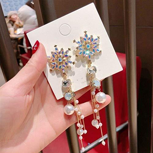 JINGM Boucles d'oreilles Longues À Pompon en Perles De Cristal Colorées pour Femmes