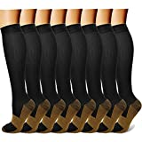 QUXIANG Copper Compression Socks Women & Men Circulation (8 Pairs) 15-20 mmHg Knee High is Best for Athletics Climbing Running Support Cycling Hiking Flight Travel Pregnancy Maternity (L/XL,Multi 01)