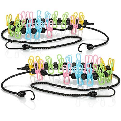 com-four® 2x Clothesline - Travel clothesline with 16 clamps - Clothesline with hooks - Camping clothesline - Mobile clothesline - 1.80 m (colorful/black)