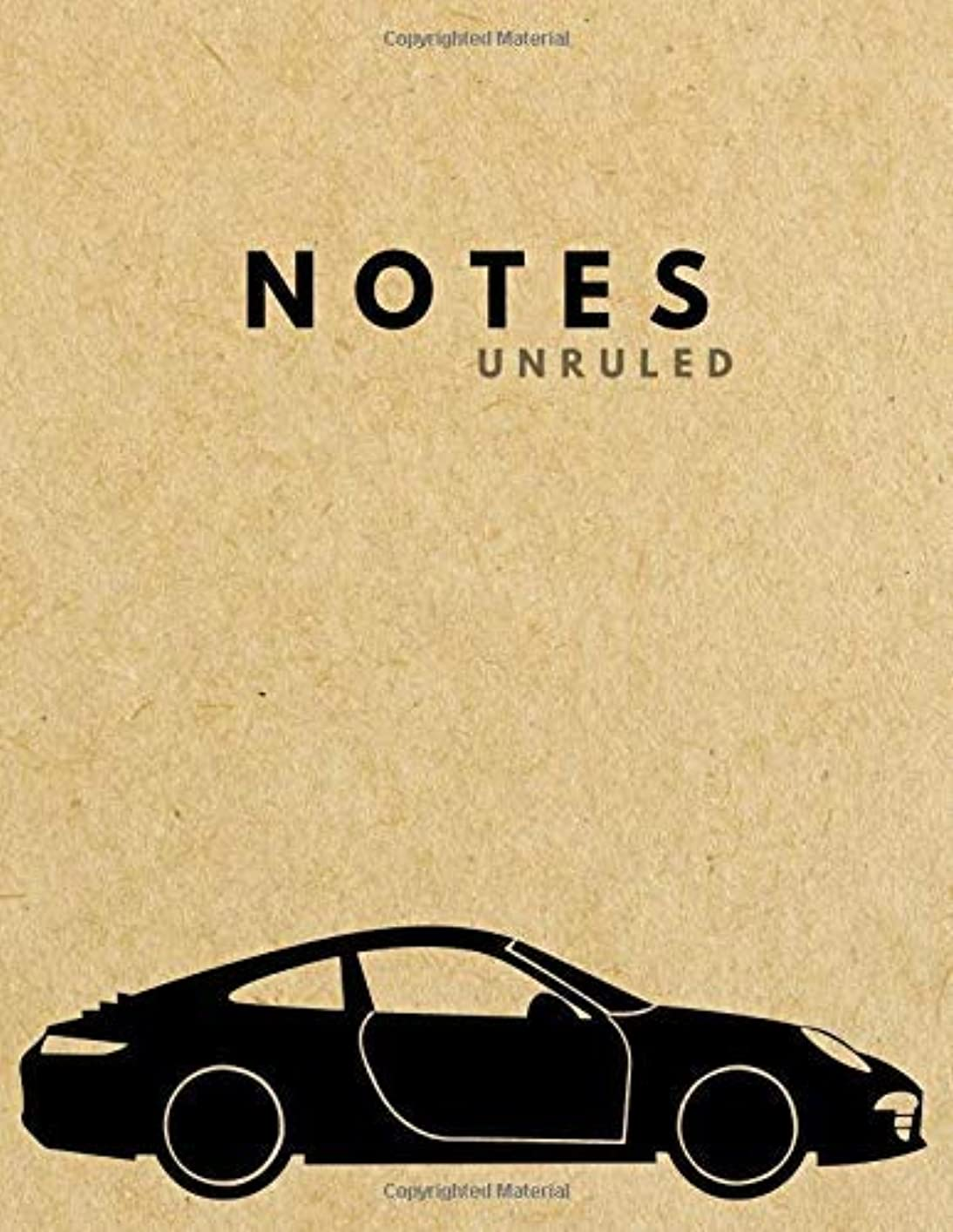 Unruled Notes: SPORTS CAR Brown Paper Soft Cover | Large (8.5 x 11 inches) Letter Size | 120 unlined pages | Plain Retro Notebook [並行輸入品]