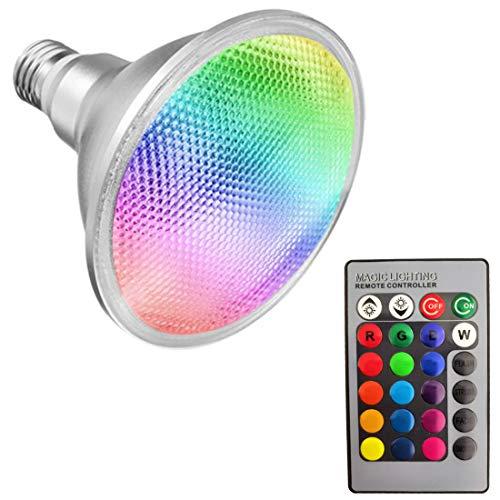 Akaiyal 20W Par38 RGB LED Lámpara Reflectora E27 Impermeable IP65 Bombillas AC85-265V 120 Grados RGB COB Cambiar Color Lámpara Reflectora 1-Pack