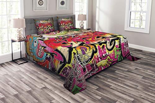 Couvre-lit de mur de brique, Graffiti sur Wall Street Art urbain avec thème souterrain de tagger de peinture en aérosol, ensemble de couvre-lit matelassé décoratif 3 pièces avec 2 taies d'oreiller, ro