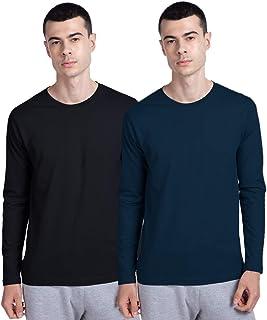 Bewakoof Men's Cotton Solid Men- Pack of 2 (01, 01) Full Sleeves | Round Neck | Regular Fit T-Shirt/Tee
