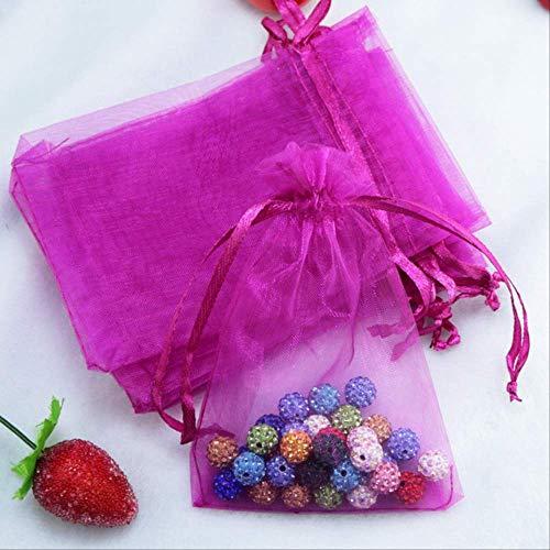 100 Unids13x18cm Bolsas de Organza Bolsa de Joyería de Boda de Navidad Bolsa de Almacenamiento de Viaje Bolsas de Embalaje de Caramelos Para Bolsa de Regalo rosa