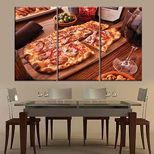 RHBNVR canvas schilderij restaurant en pizza winkel muur decoratieve 3 panelen lekker eten pizza en rode wijn schilderij modern canvas afdrukken kunstwerk (zonder lijst)