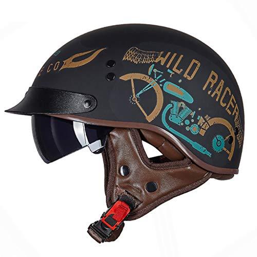 FANGJIA-Helmet Casco Retro/Certificación Dot/Medio Casco de Motocicleta de Cara Abierta con Visera UV Four Seasons Hombres y Mujeres Scooter Bike Cruiser Casco(55-62 cm)