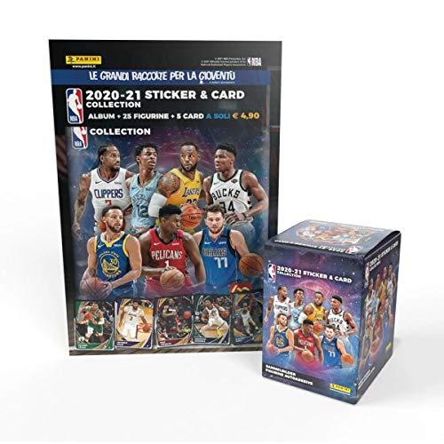 Panini NBA 2020-21 Sticker & Card Collection - Super Starter Pack [Album + 5 bustine omaggio + Box da 36 bustine]