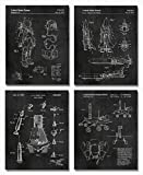 Space Patent Prints - Set of FOUR 8'x10' Wall Art Decor - Great Gift for Aerospace Lovers Chalkboard