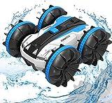 OUTTUO Carrera teledirigido anfibia, 2.4GHz 4WD Carreras de Juguetes de Alta Velocidad, Giro de 360 Grados, Adecuado para su Uso en Tierra y Agua, es Regalo Genial para los niños-Azul