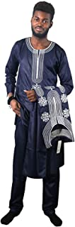HD African Apparel Agbada Clothing Embroidery Dashiki Shirt and Pants Men Traditional Outfits 3 Pieces