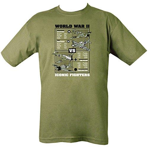 Kombat UK pour Homme WWII emblématique Fighters T-Shirt L Vert Olive