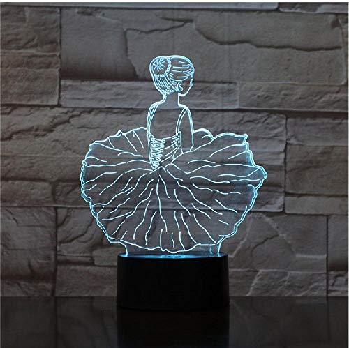 Tanz-Mädchen Des Ballett-3D Führte Acrylnachtlicht Mit 7 Farbnoten-Steuerillusions-Änderung