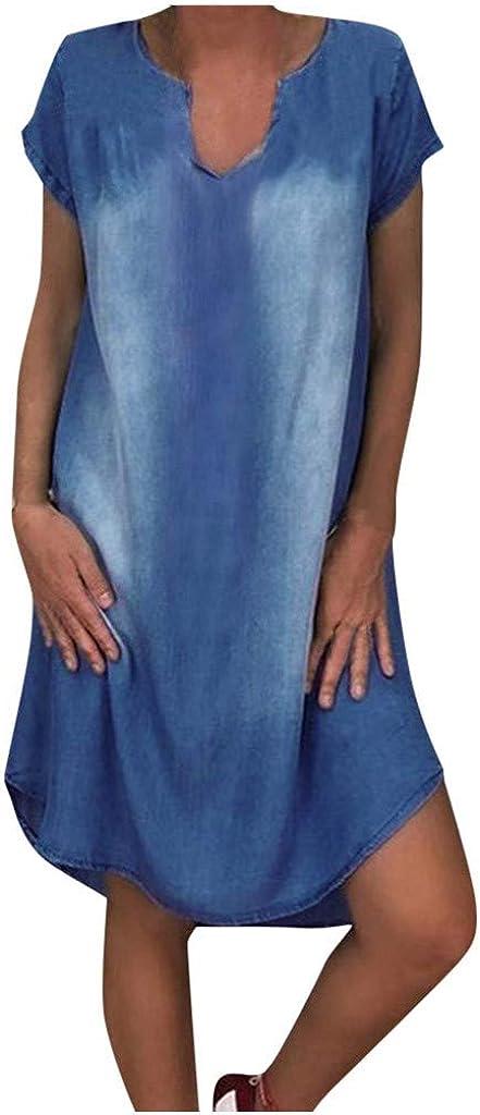 ZAKIO Summer Dresses for Women, Maxi Dresses for Women, Women's Short Sleeve T-Shirt Denim Dress Casual Jean Dress(A)