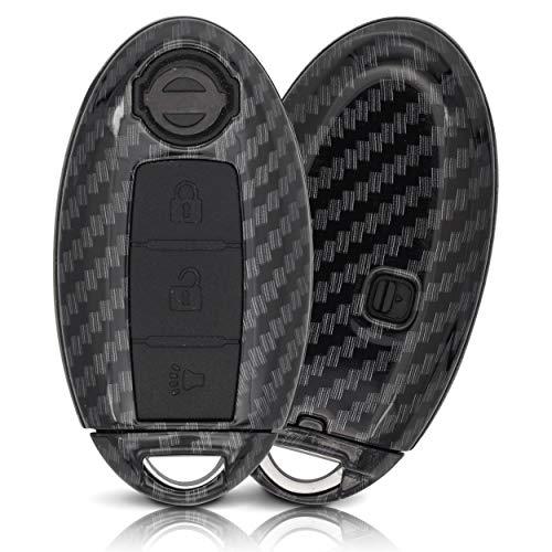 ASARAH Premium ABS Autoschlüssel Hülle kompatibel mit Nissan - Edles Carbon Design mit Silikonschutz für Tasten - Carbon NI 3BKL