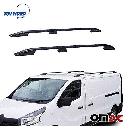 OMAC GmbH Aluminium Schwarz Dachreling Dachgepäckträger für Vivaro 2014-2020 Kurzer Radstand Relingträger Gepäckträger mit TÜV ABE Fahrzeugspezifisch