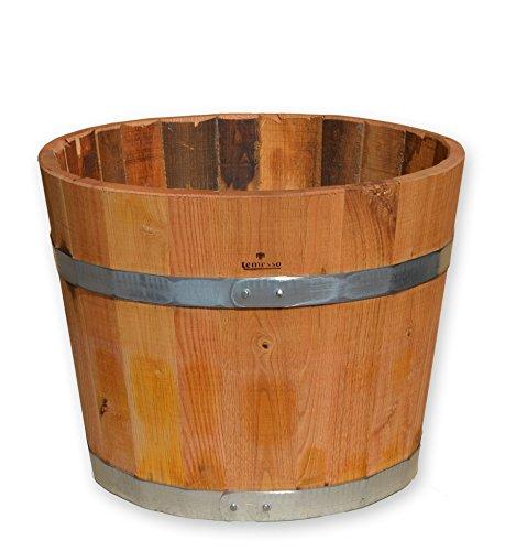 Temesso Blumentopf, Blumenkübel aus Kastanien-Holz - Fass, Holzfass als Pflanzkübel - Bottich, Holzkübel geölt (D40 H35cm geölt)
