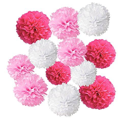 Wartoon Pom Poms di Carta Velina Decorativo Palla Fiore, 12 Pezzi palle di carta appendere per il Compleanno Decorazione Della Festa Nuziale, (Scuro Rosa, Rosa and Bianca)