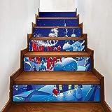 Pegatinas de escaleras de Nochevieja Pegatinas de escaleras impermeables autoadhesivas Pegatinas de decoración de muebles de vacaciones Cartel de 100 * 18 cm * 6 piezas
