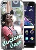 Diseñe su propia, foto personalizada Anti amarillamiento claro TPU caso del teléfono para Huawei P8 Lite caso personalizado con 1 protector de pantalla (transparente)