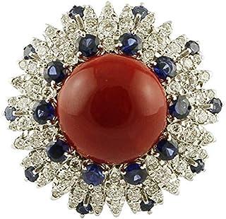 Anello Oro Bianco, Corallo, Zaffiri Blu e Diamanti